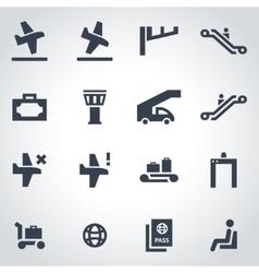 black airport icon set vector image