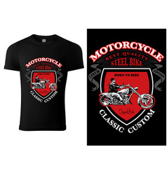Black t-shirt design with motorcyclist vector