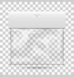 blank plastic pocket bag packaging with a vector image