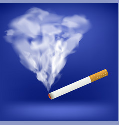 burning cigarette transparent smoke vector image