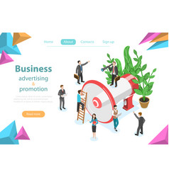 Business advertising and promotion isometric flat vector