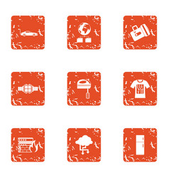 Business band icons set grunge style vector