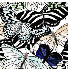 Butterflies black and white watercolor seamless vector