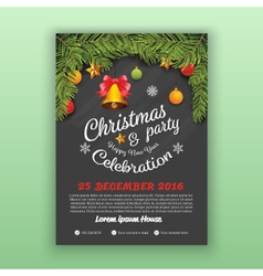 Christmas and Happy New Year Party Flyer Template vector
