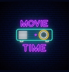 cinema projection unit neon sign glowing neon vector image