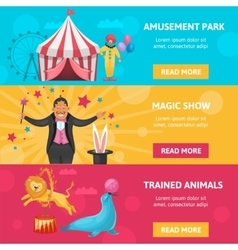 Circus Entertainment Banners Set vector