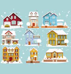 City houses in winter vector