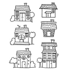 Collection of house set hand draw vector
