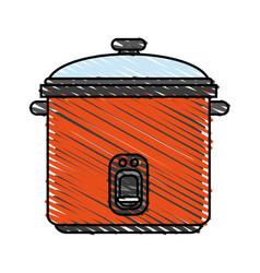 Color crayon stripe cartoon rice electric cooker vector