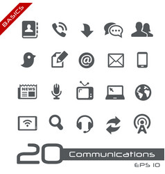communications icon set - basics vector image