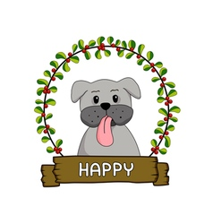 Cute dog in the red cherries round frame vector