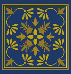 cute ornamental tile gold pattern on blue vector image