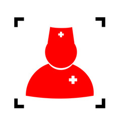 doctor sign red icon inside vector image