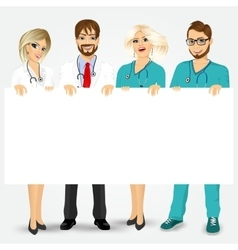 doctors and nurses holding a blank billboard vector image