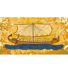 Egyptian papyrus boat fresco vector