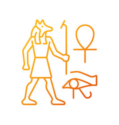 Egyptian wall drawings gradient linear icon vector