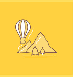 explore travel mountains camping balloons flat vector image
