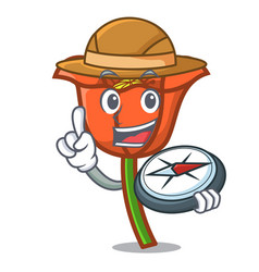 explorer poppy flower mascot cartoon vector image
