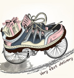 Fashion background with sports boots on a bike vector