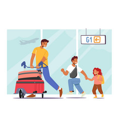 father travelling with little daughter and son vector image