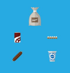flat icon eating set of eggshell box fizzy drink vector image