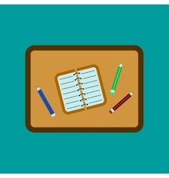 flat icon on background notebook pencil table vector image