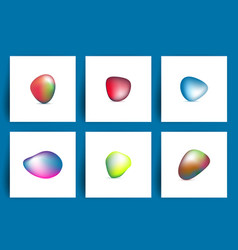 fluid colorful shapes set of iridescent smooth vector image