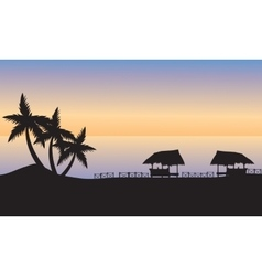 Gazebo on the ocean shore at sunset vector