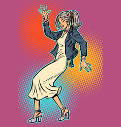 girl in elegant dress woman disco dance vector image