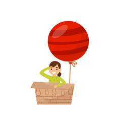 girl sitting in cardboard box with bright red vector image