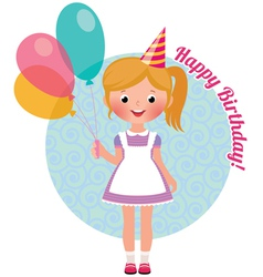 Girl with balloons birthday vector