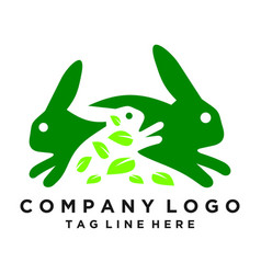 green rabbit logo leaf consumption rabbits vector image