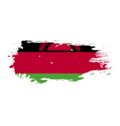 Grunge brush stroke with malawi national flag vector