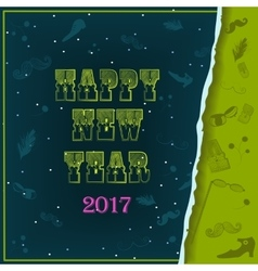 Happy New Year 2017 Vintage greeting card vector