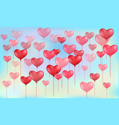 heart balloons for valentines day on sky vector image