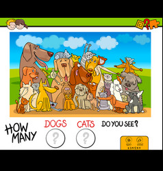 How many dogs and cats counting game vector