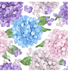 Hydrangea flowers petals and leaves in watercolor vector