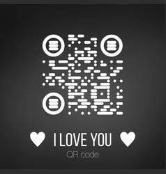 i love you qr code on black background can be vector image