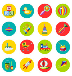 icons of toys in the flat style image on a vector image