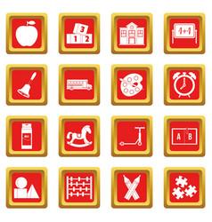 Kindergarten symbol icons set red vector