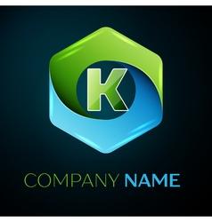 Letter K logo symbol in the colorful hexagonal on vector