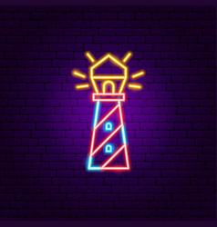 lighthouse neon sign vector image