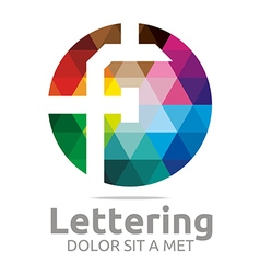 Logo Abstract Lettering F Rainbow Alphabet Icon vector image