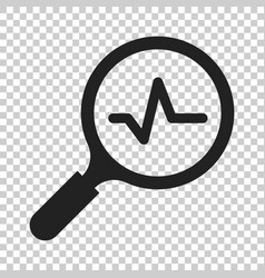 Magnifying glass icon with pulse on isolated vector
