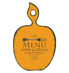 menu in form cutting board with fork vector image