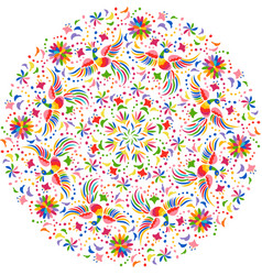mexican embroidery round pattern vector image