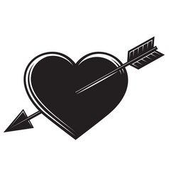 monochrome with an arrow in heart vector image