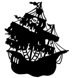 Mysterious pirate ship silhouette vector