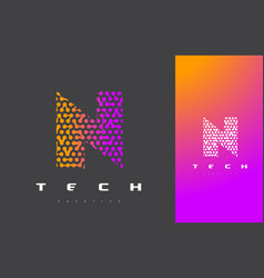 n letter logo technology connected dots letter vector image