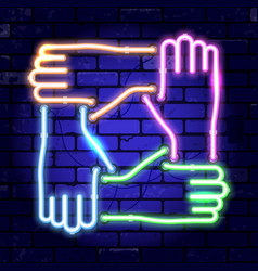 Neon signboard teamwork or hands friends vector